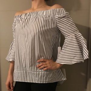 NWT Nordstrom off the Shoulder bell sleeve striped